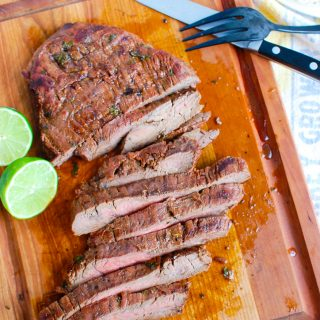 Grilled Carne Asada on cutting board