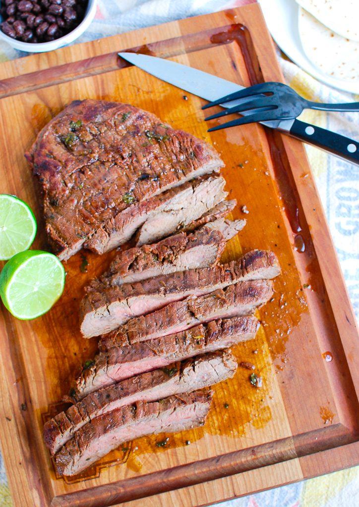 Grilled Carne Asada on cutting board