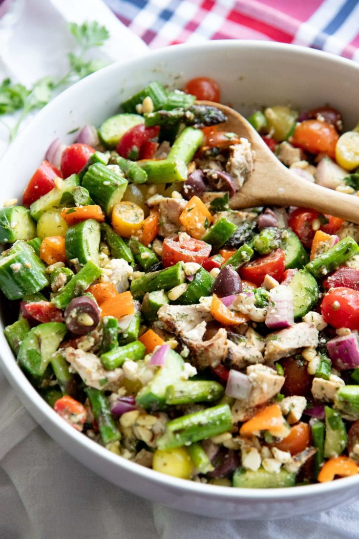 Grilled Chicken and Asparagus Chopped Greek Salad