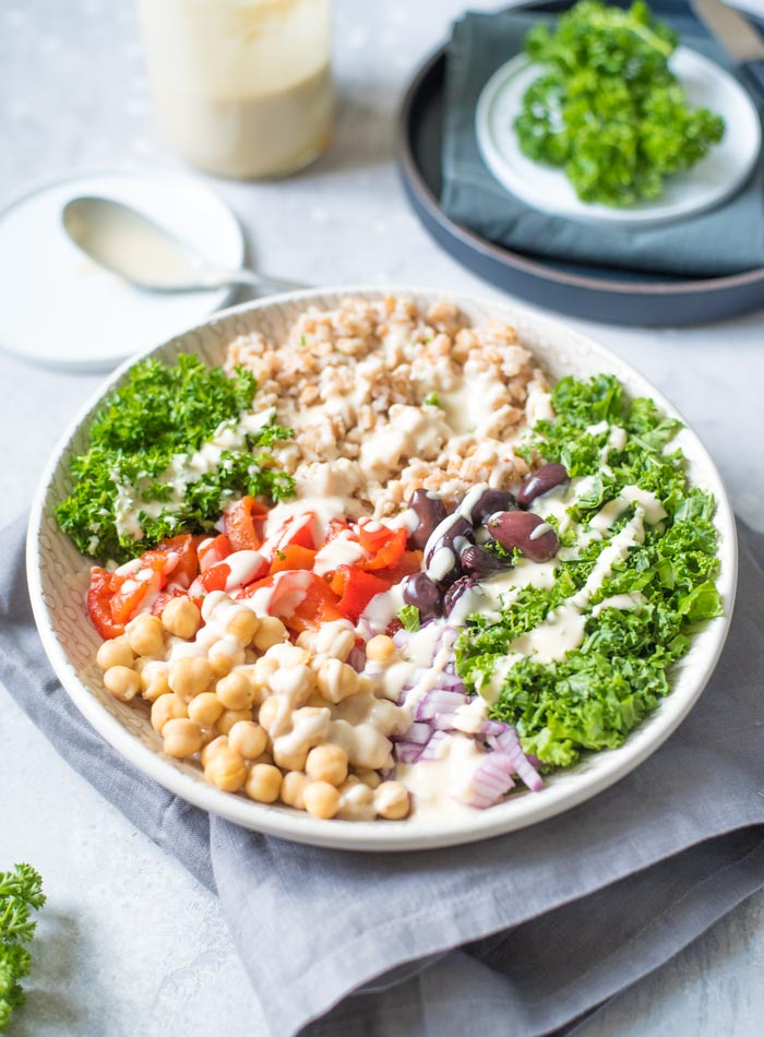 Mediterranean Farro Salad with Lemon Tahini Sauce