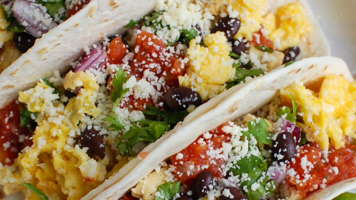 Southwest Breakfast Egg Tacos in white platter