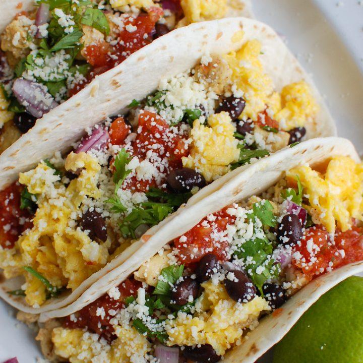 Southwest Breakfast Egg Tacos in white platter