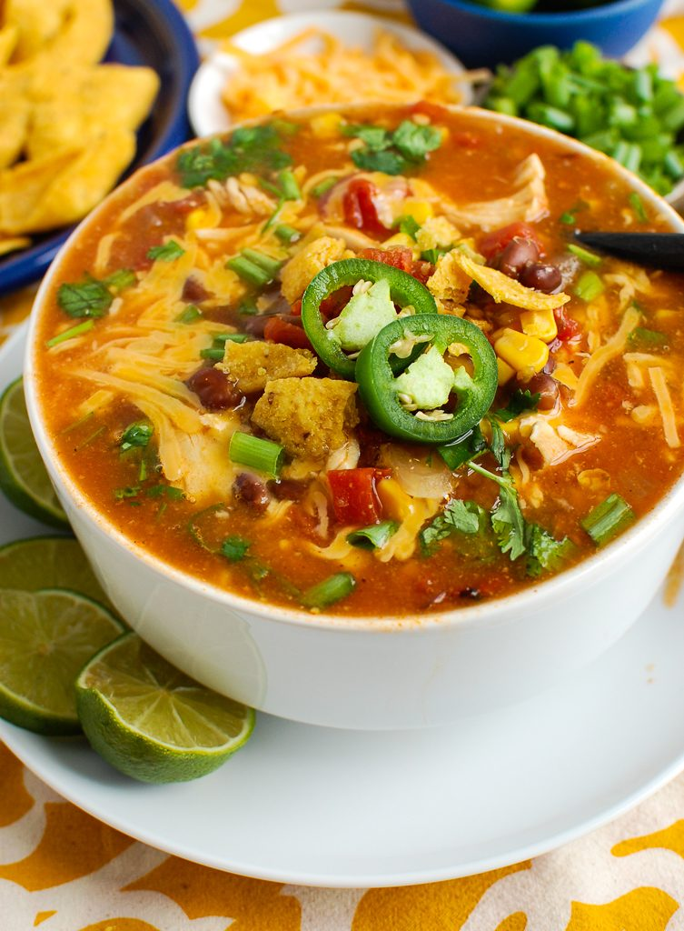 Chicken Enchilada Soup with spoon