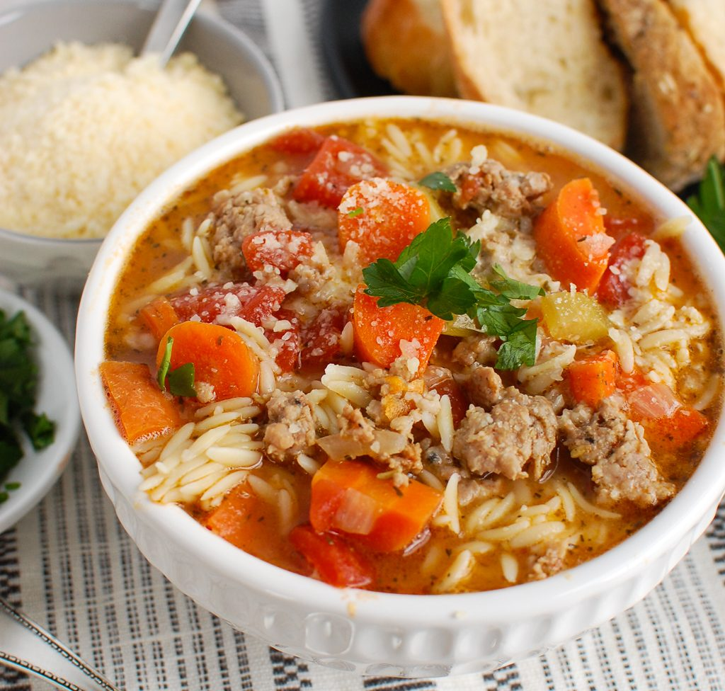 Italian Sausage Soup with bread