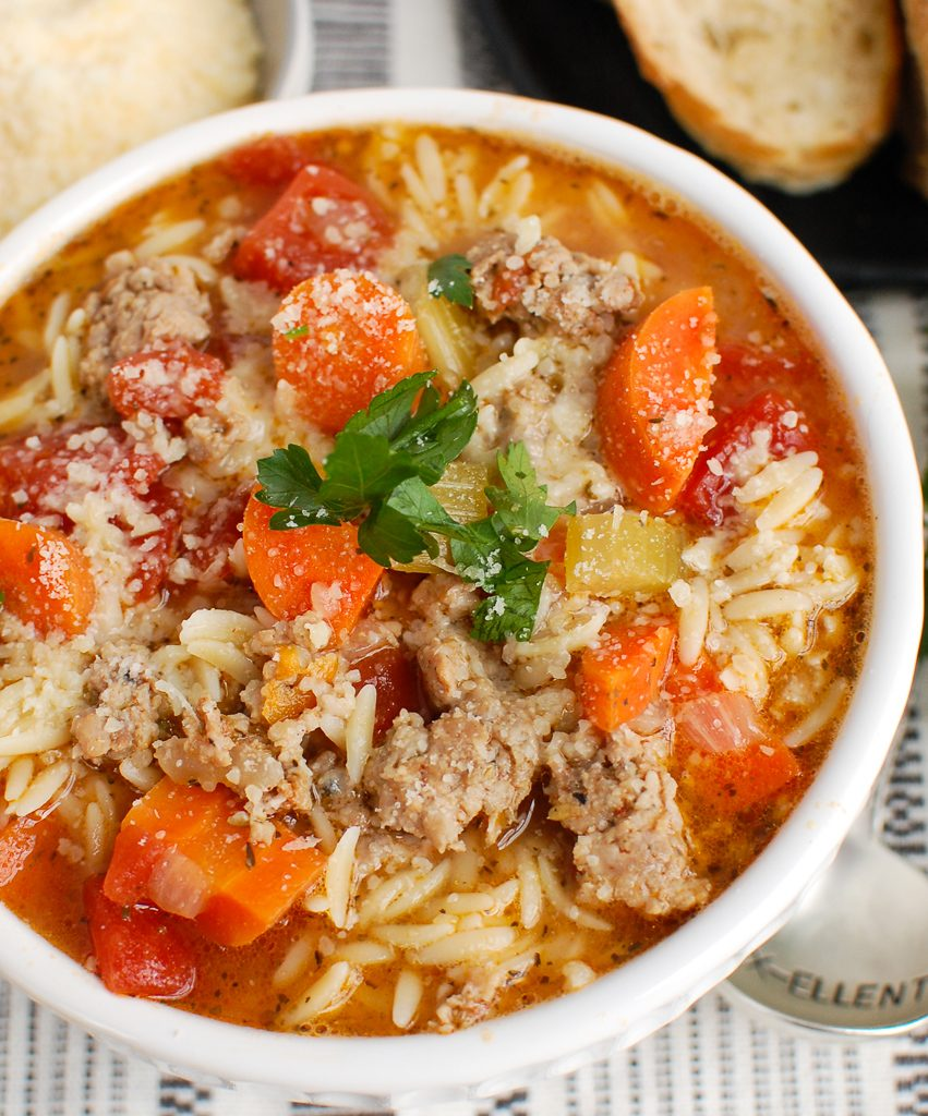 Italian Sausage Soup with parmesan cheese
