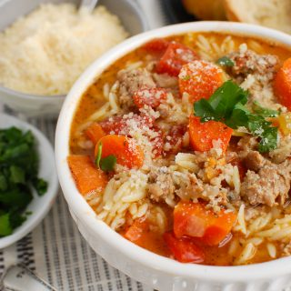 Italian Sausage Soup in white bowl