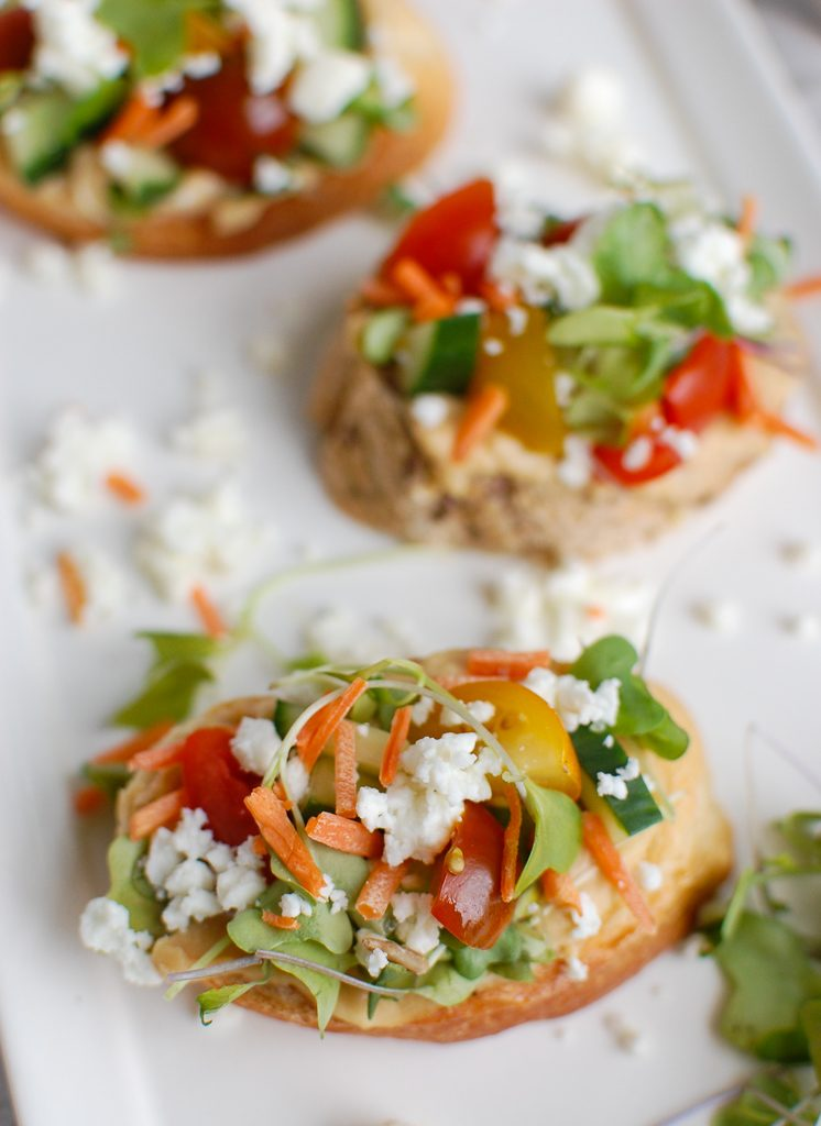 Mediterranean Crostini with feta cheese