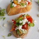 Mediterranean Crostini on white plate
