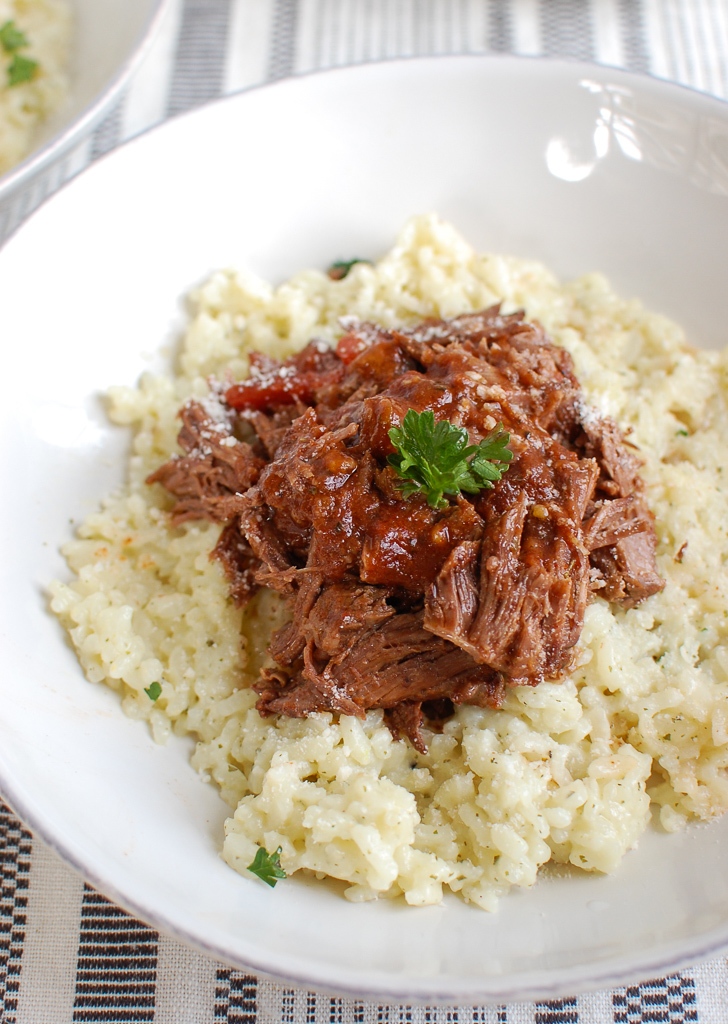 Slow Cooker Italian Short Ribs with creamy risotto