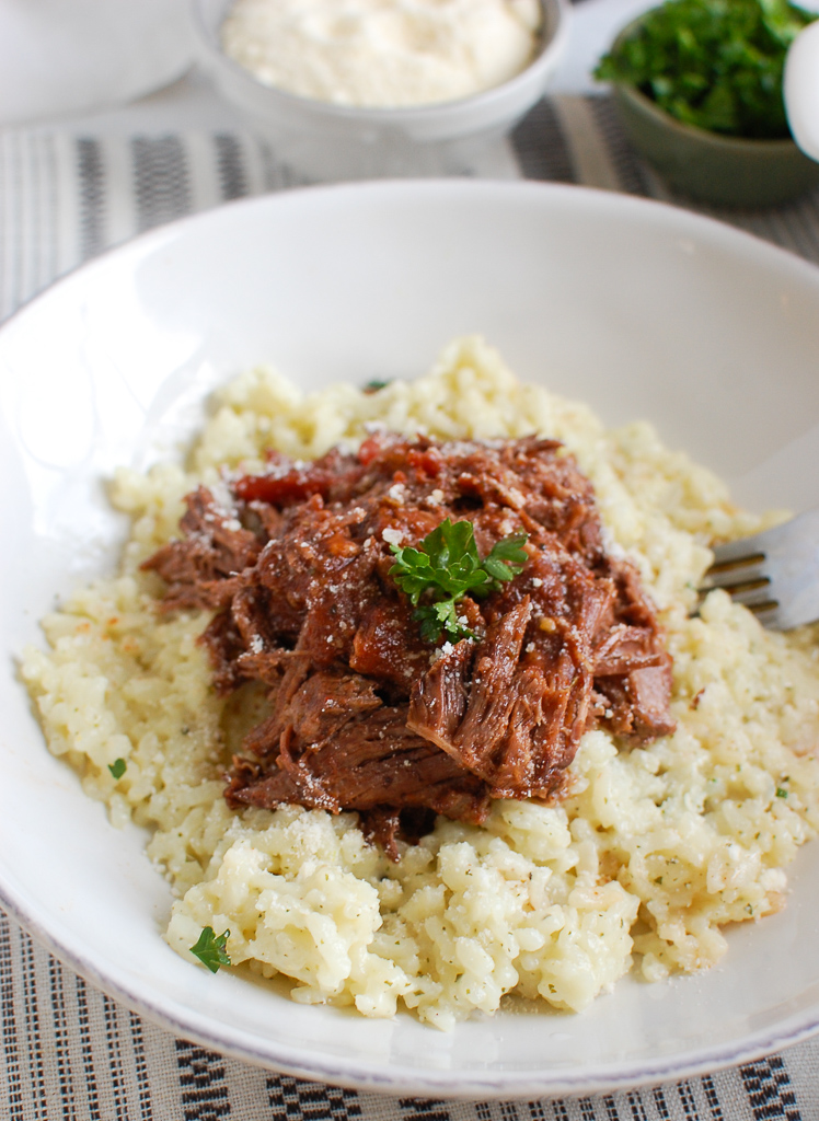 Slow Cooker Italian Short Ribs in white bowl
