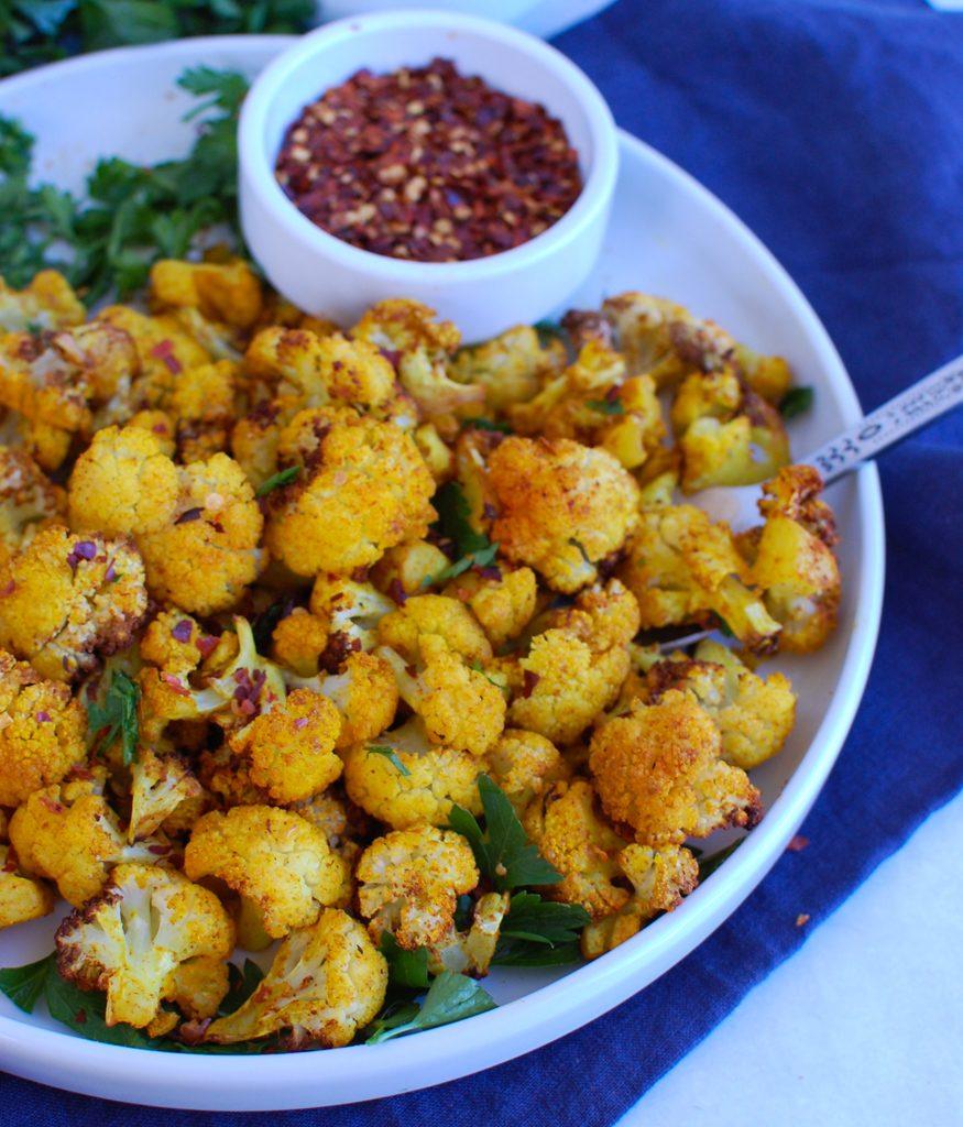 Air Fryer Cauliflower round white plate
