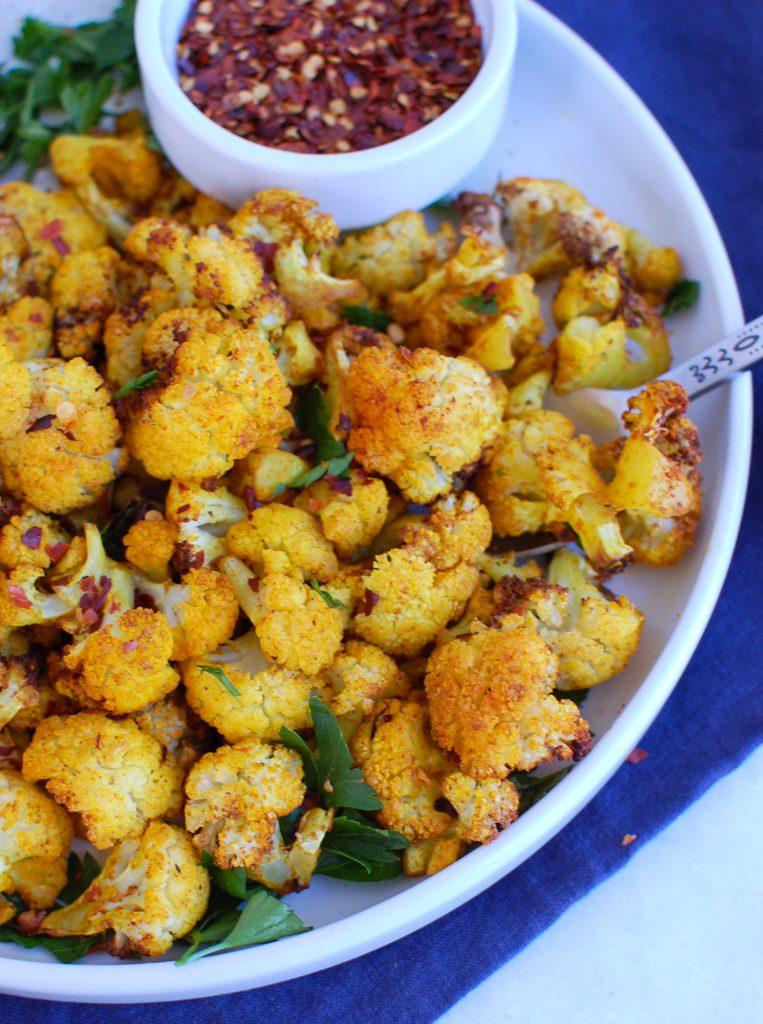 Air Fryer Cauliflower on white plate