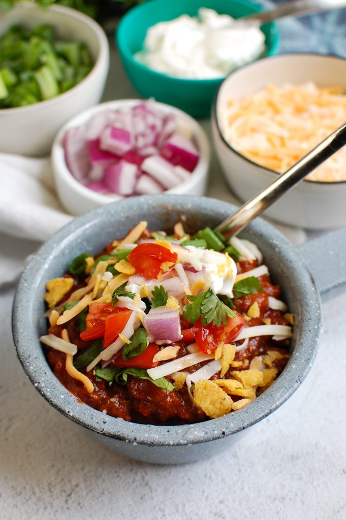 Beef Chili Recipe in blue bowl