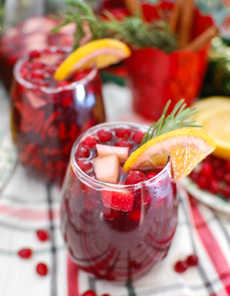 Christmas Sangria with orange slice