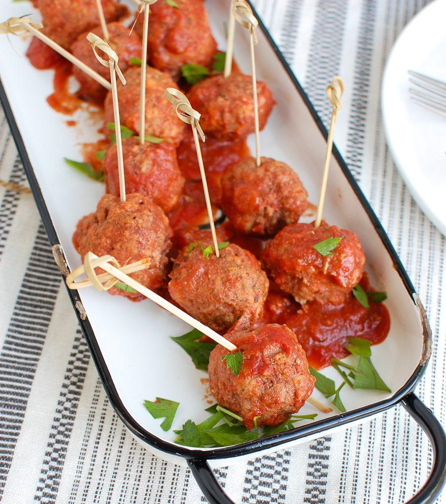 Pork Meatballs with toothpicks