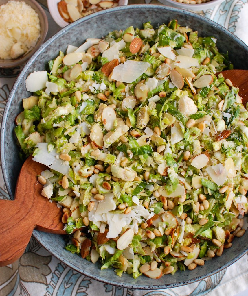 Shaved Brussels Sprouts Salad with pine nuts