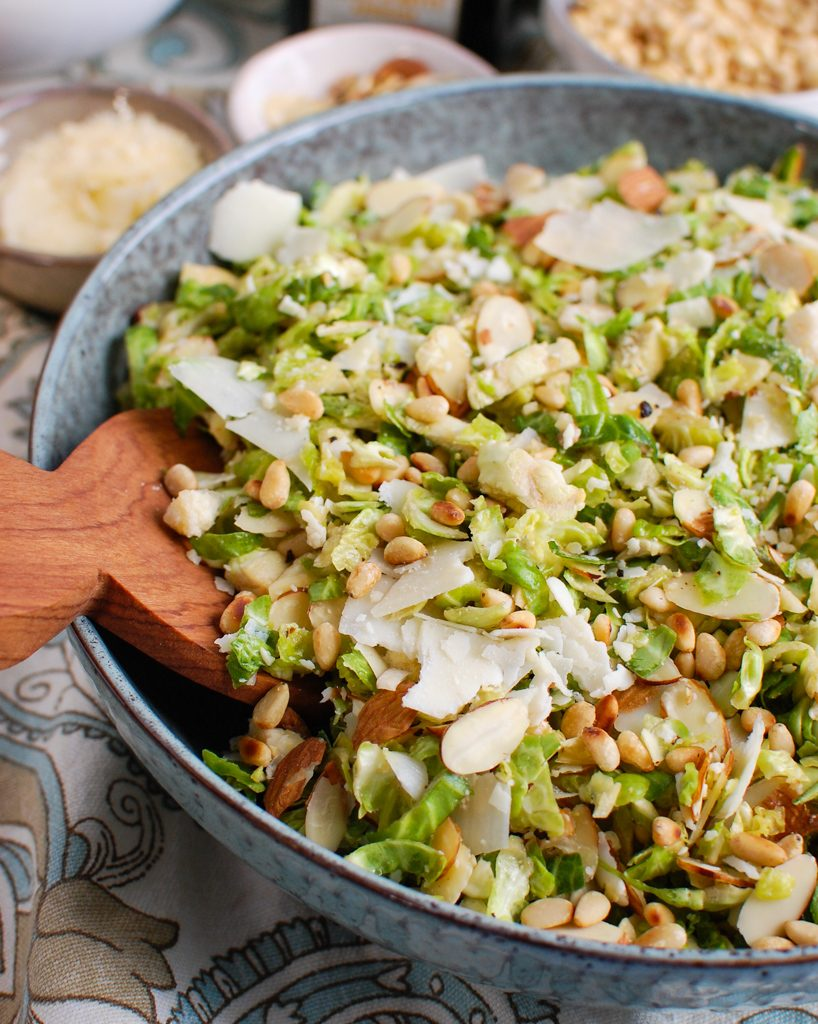 Shaved Brussels Sprouts Salad with cheese