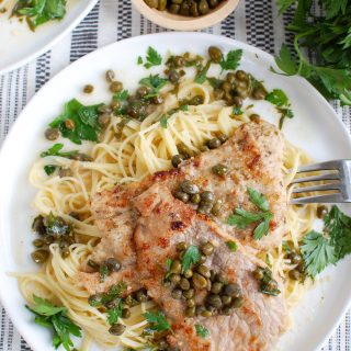Veal Piccata on white plate