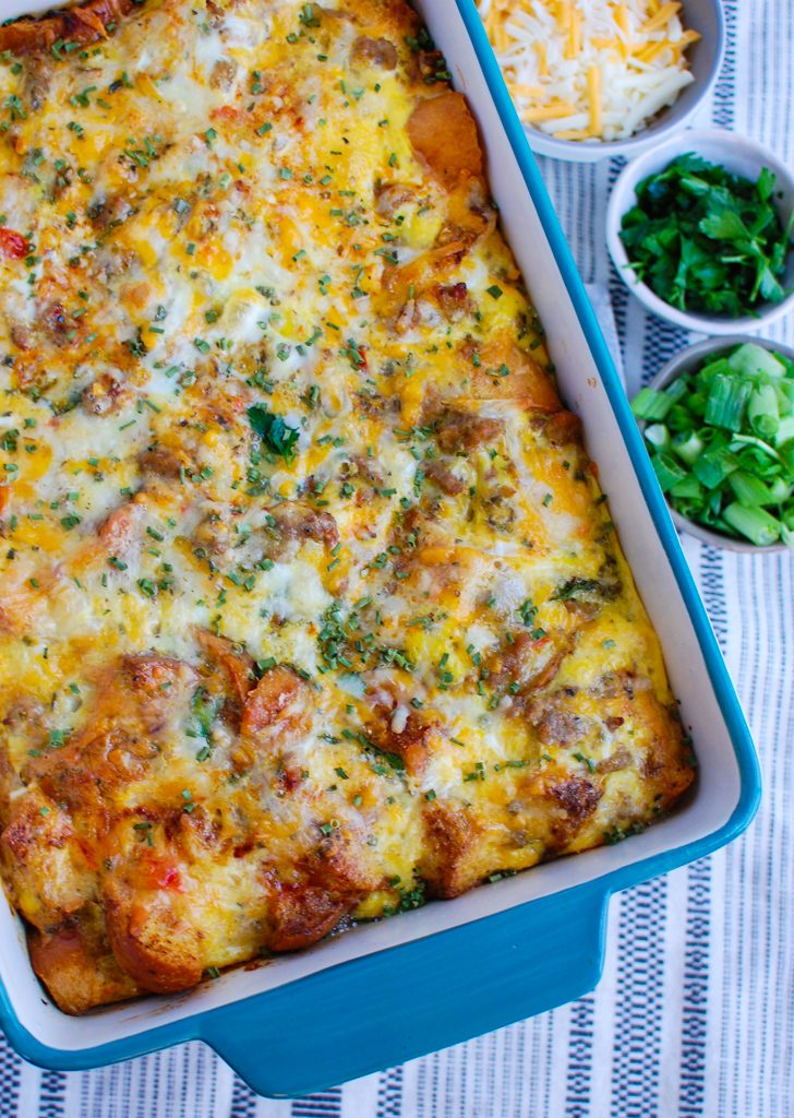 Egg Sausage Casserole in teal dish