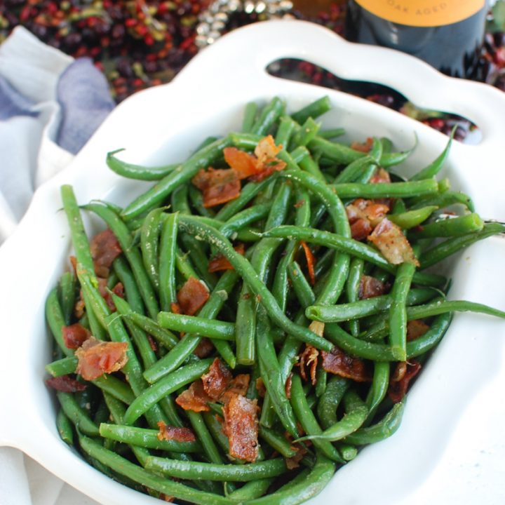 Green Beans with Bacon in white dish
