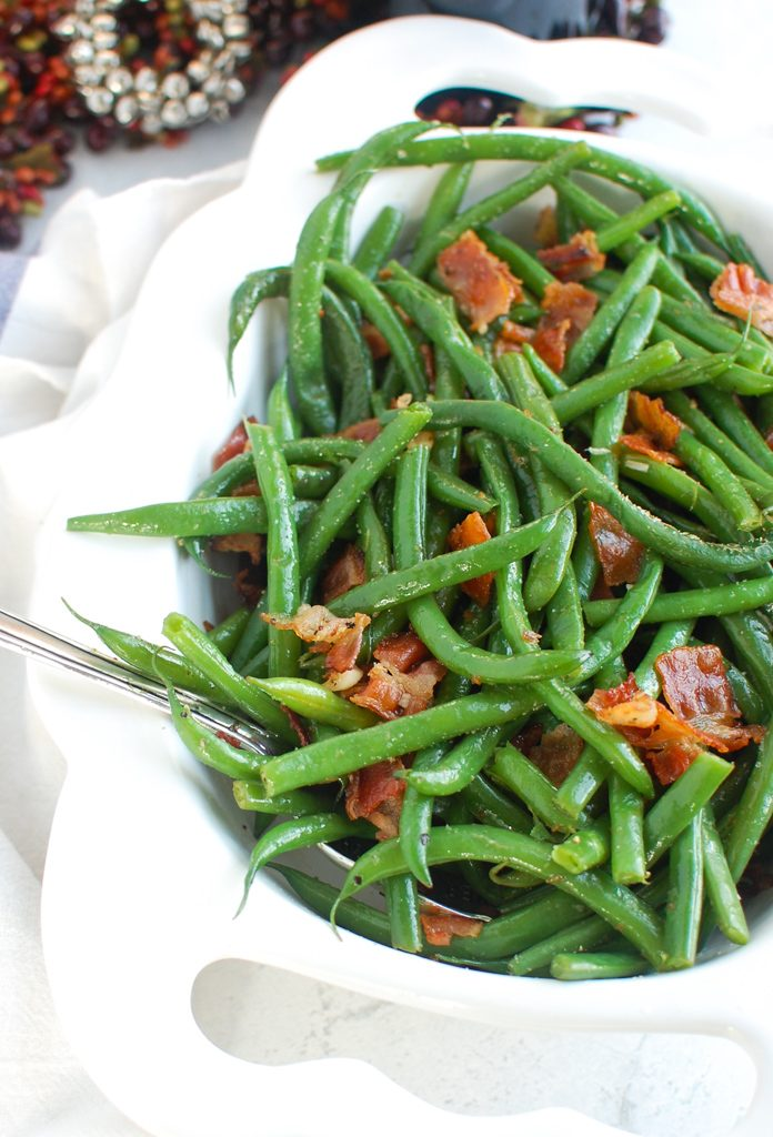 Green Beans with Bacon with spoon