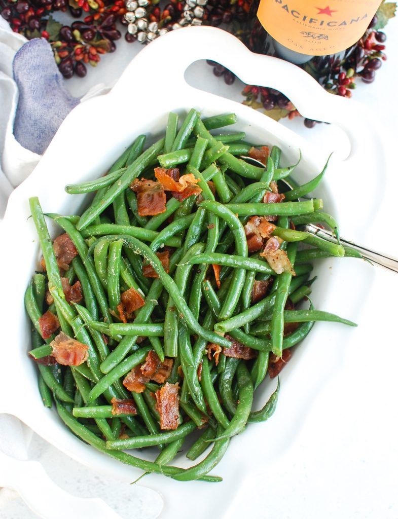 Green Beans with Bacon with white napkin