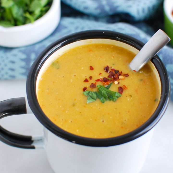 Lebanese Lentil Soup with spoon