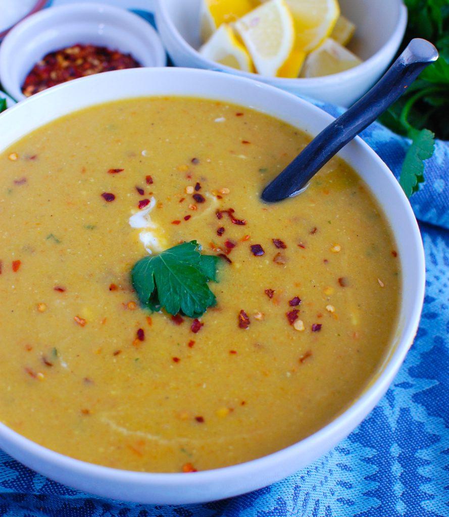 Lebanese Lentil Soup in white bowl