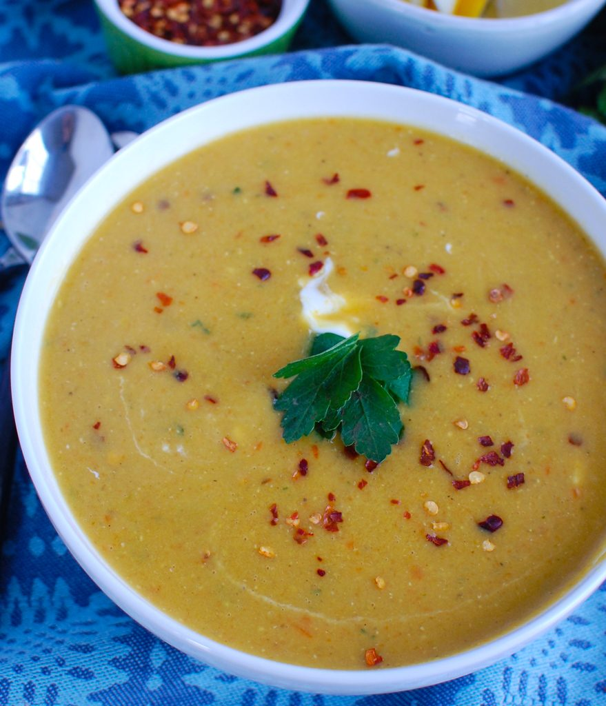 Lebanese Lentil Soup with crushed red pepper