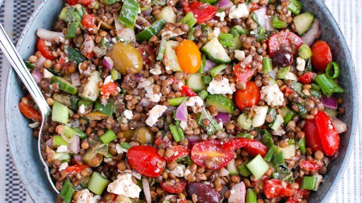 Mediterranean Lentil Salad with hummus