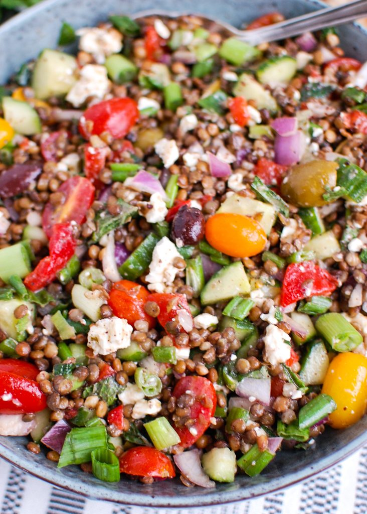 Mediterranean Lentil Salad with spoon