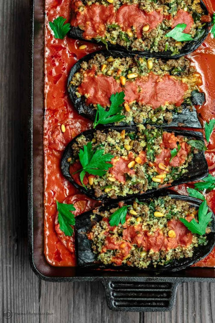 Stuffed Eggplant with Ground Beef