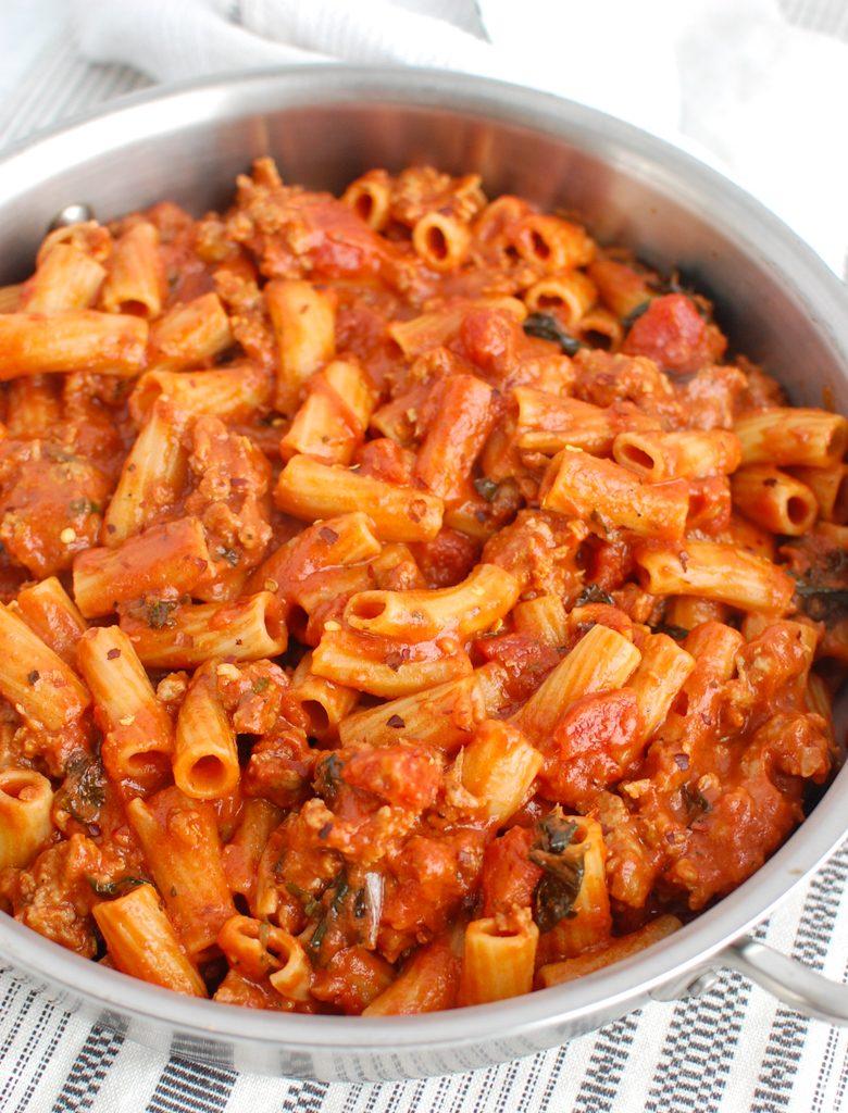 Italian Sausage Pasta in pot
