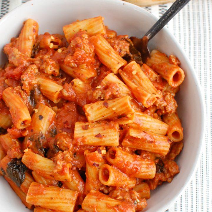 Italian Sausage Pasta in white bowl