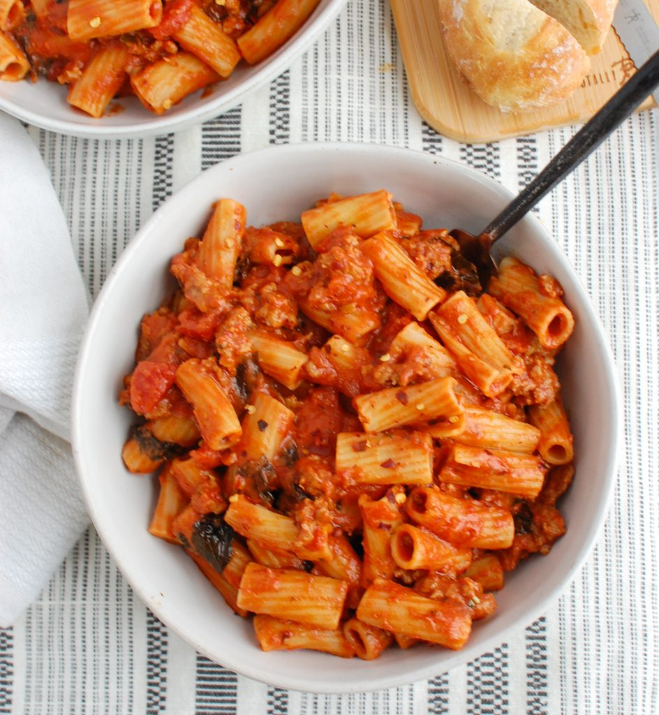 Italian Sausage Pasta with spoon