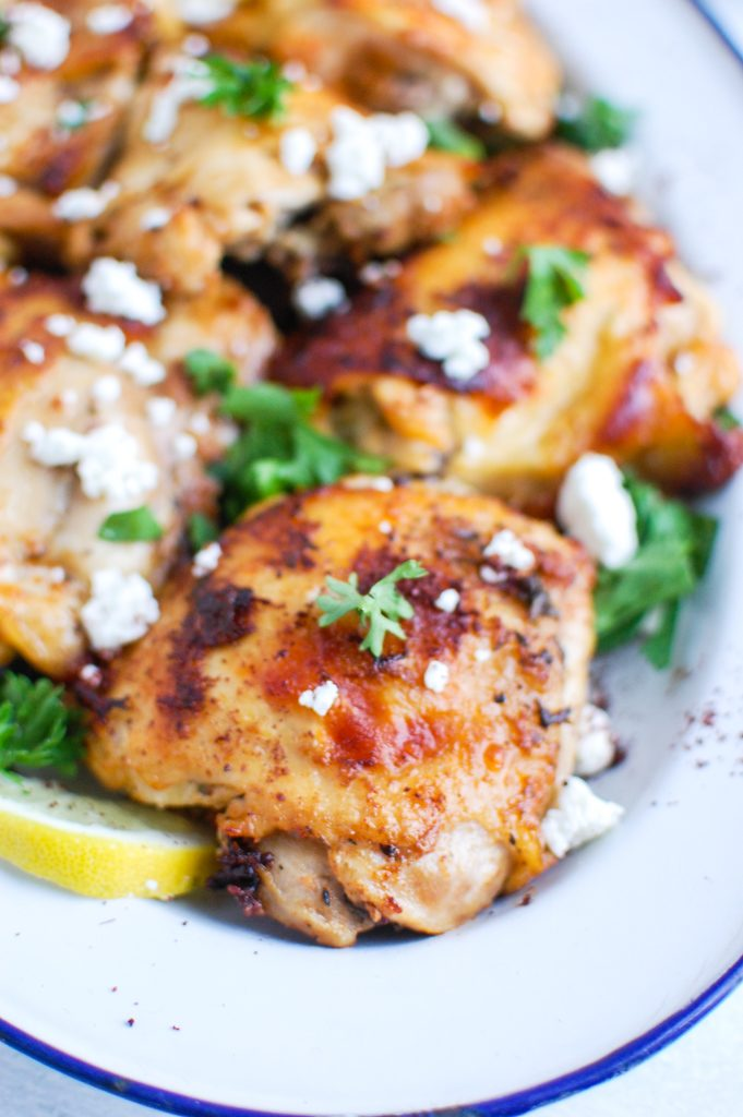 Mediterranean Chicken in large white dish
