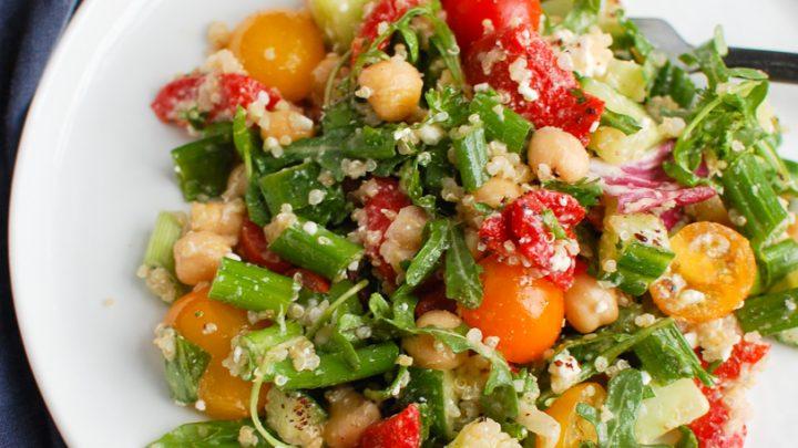 Mediterranean Quinoa Salad on white plate