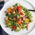 Mediterranean Quinoa Salad with logo