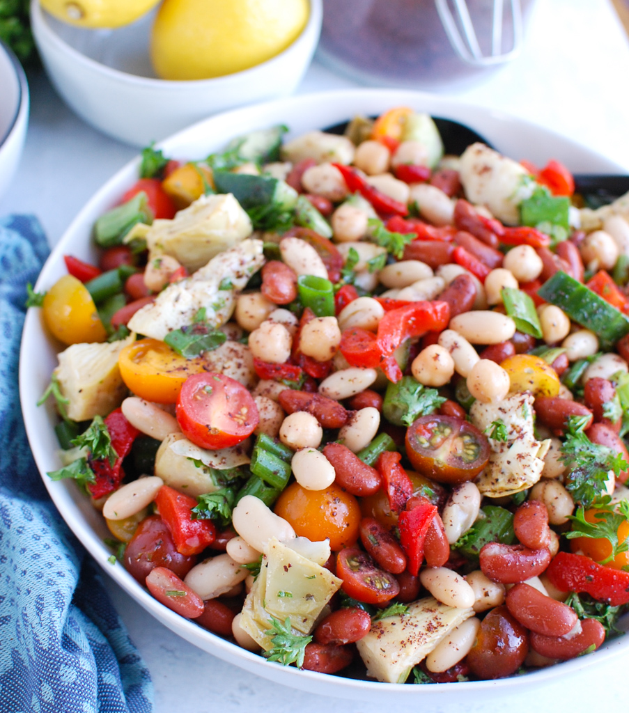 Three Bean Salad with spoon