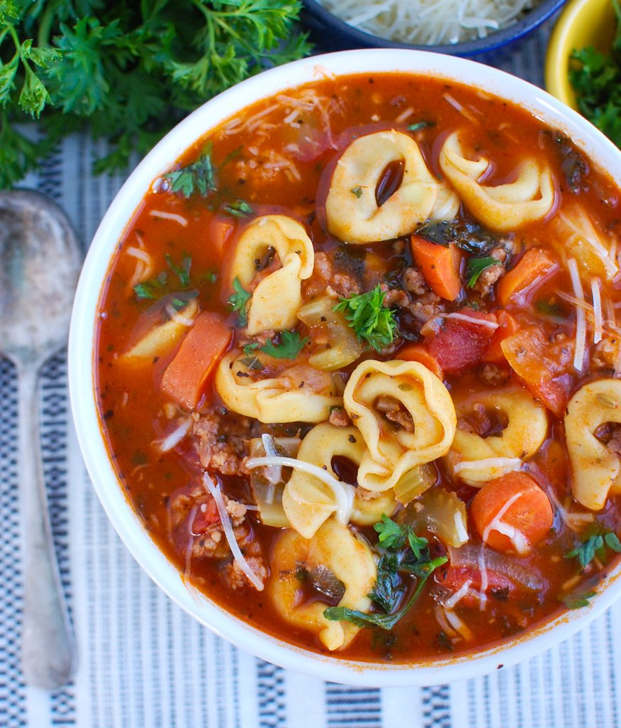 Tortellini Sausage Soup with parsley