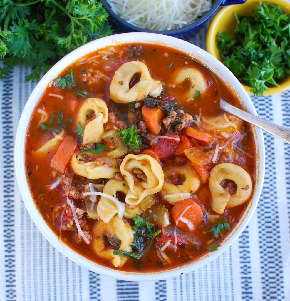 Tortellini Sausage Soup with spoon
