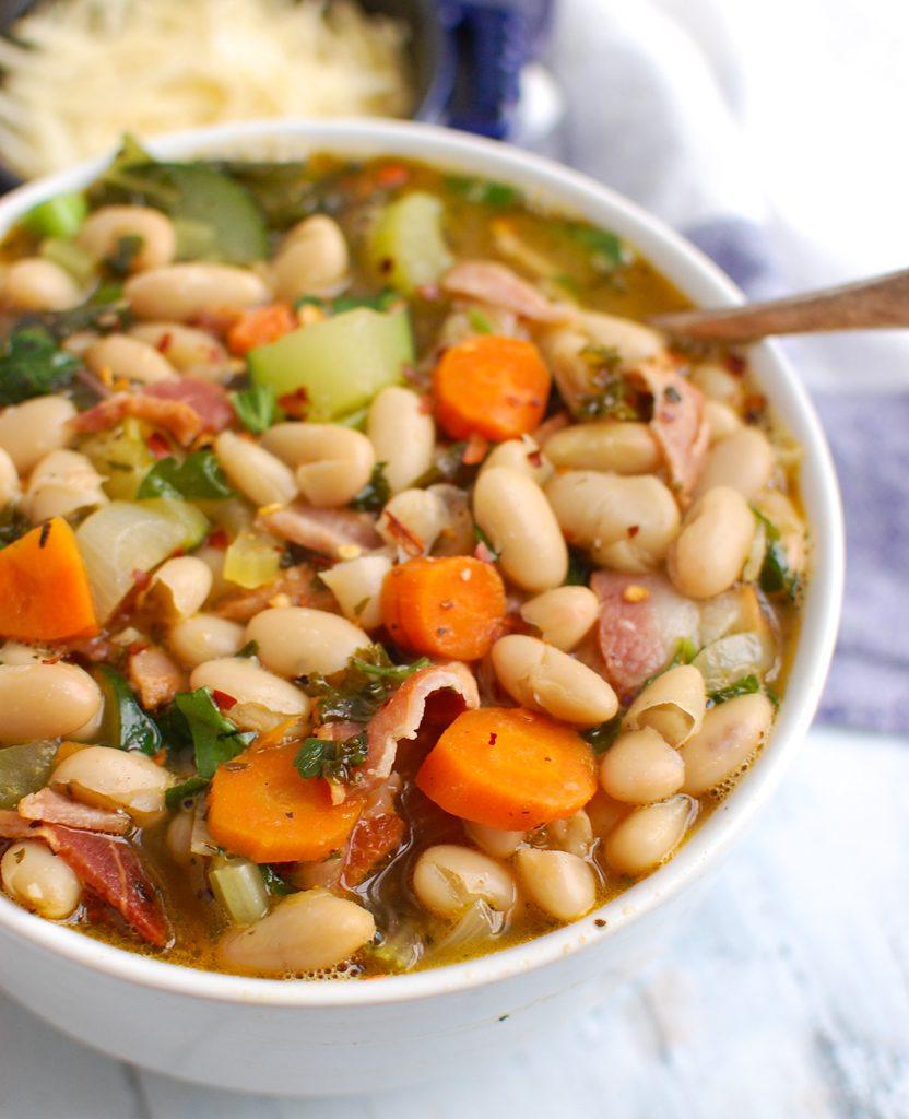 Tuscan Bean Soup in white bowl