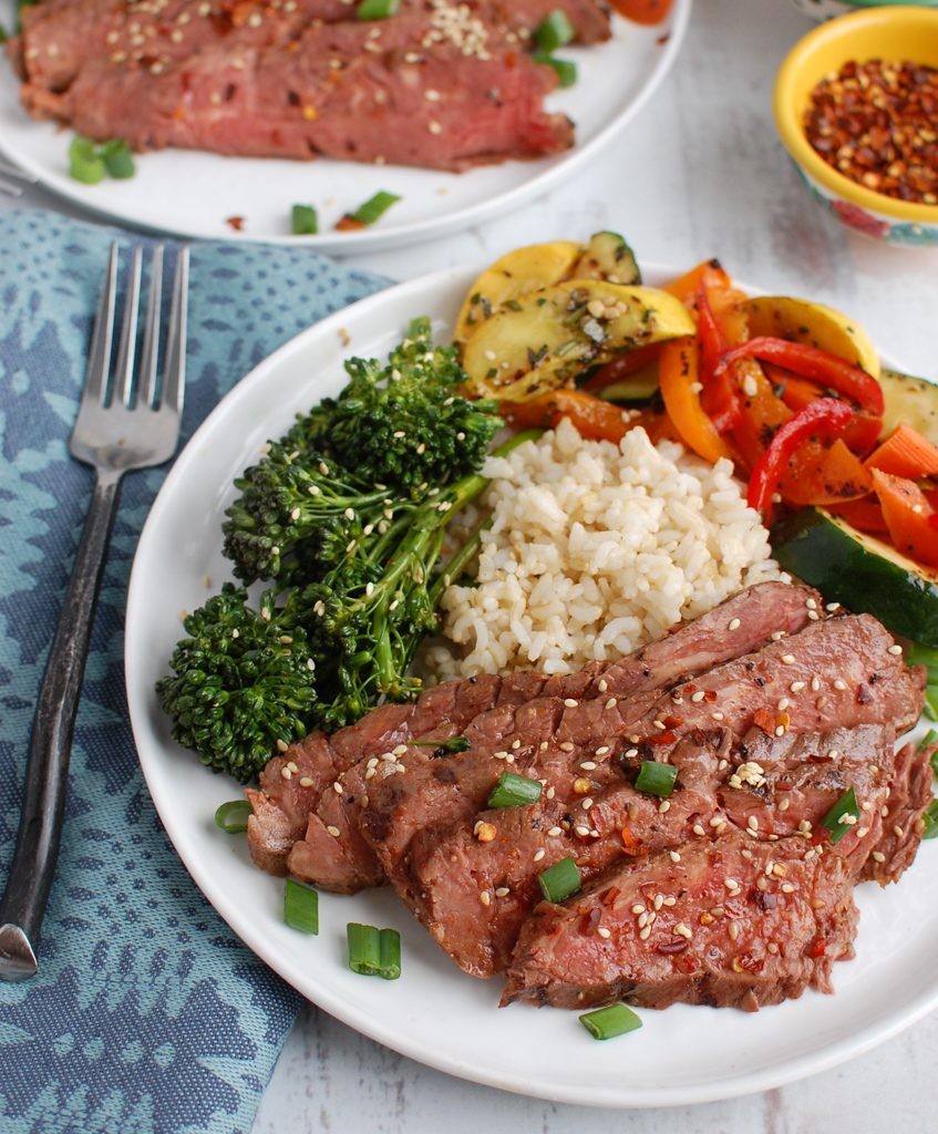 Asian Marinated Flank Steak with vegetables