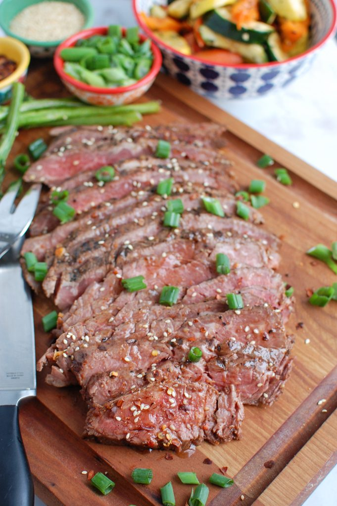 Asian Marinated Flank Steak with knife