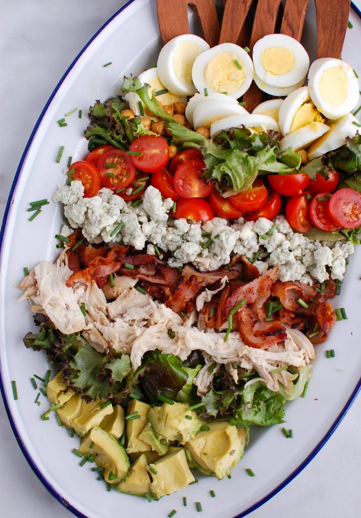 Cobb Salad Recipe on white and blue plate
