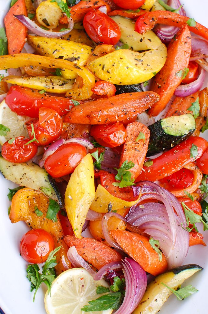 Mediterranean Roasted Vegetables on baking sheet