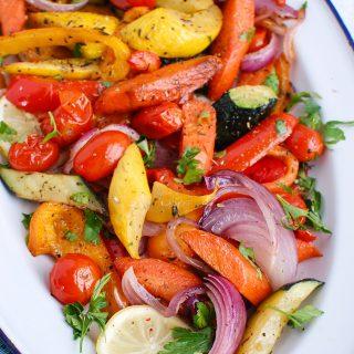 Mediterranean Roasted Vegetables in white platter