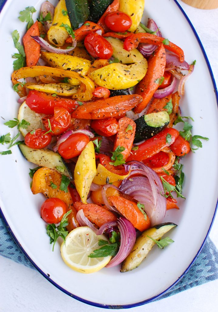 Mediterranean Roasted Vegetables on white and blue plate