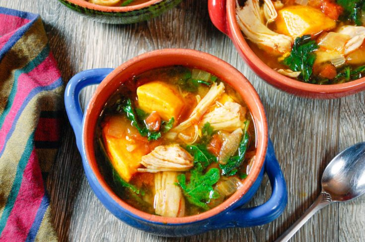 Instant Pot Chicken, Sweet Potato and Kale Soup
