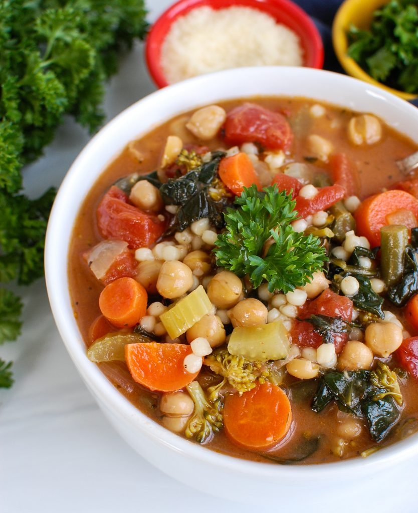 Easy Chickpea Soup in a white bowl